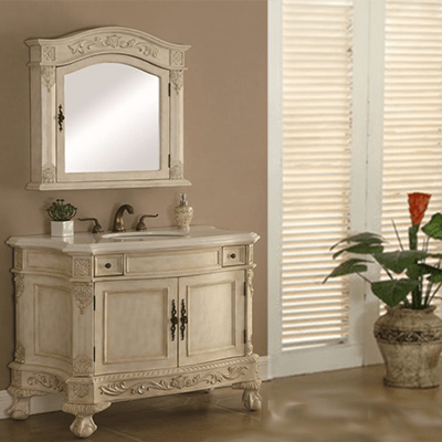 Chelsea 40′ Vanity with Matching Mirror – Antique White