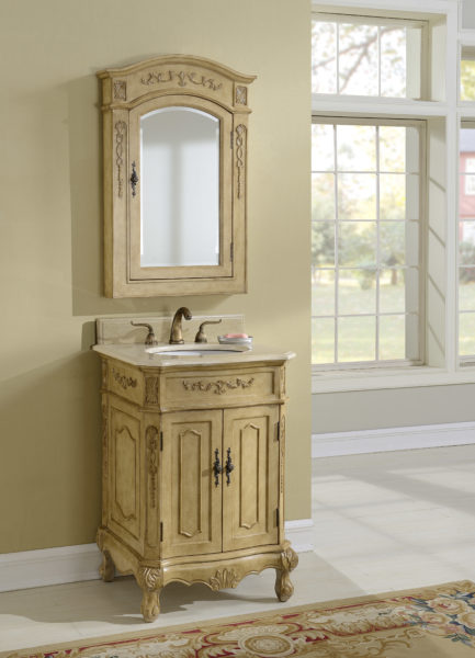 Kensington 24′ Tan Vanity with Matching Medicine Cabinet