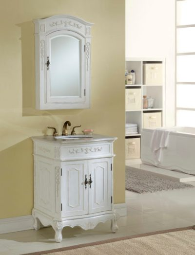 Kensington 27′ Antique White Vanity with Matching Medicine Cabinet