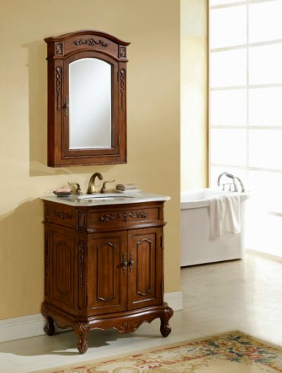 Kensington 27′ Teak Vanity with Matching Medicine Cabinet