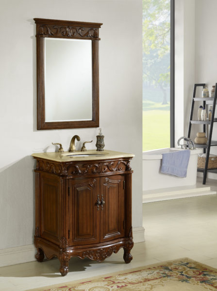 Tuscany 27′ Teak with Matching Medicine Cabinet