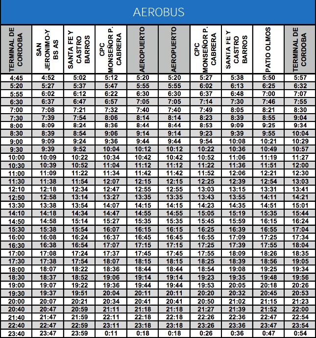 nuevos horarios del aerobus