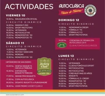 AUTOCLASICA 2014 –  Cronograma de Actividades