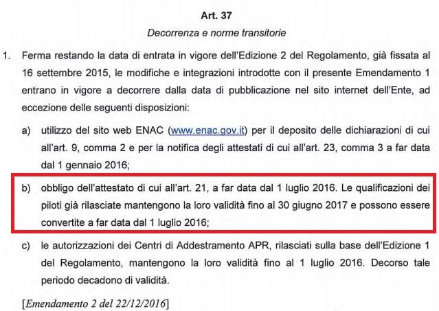 Art 37 emendamento 2 regolamento sapr-proroga attestati apr-enac-modifica regolamento enac-regolamento sapr-regole apr