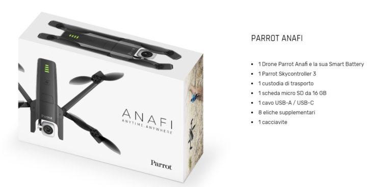 parrot anafi contenuto confezione