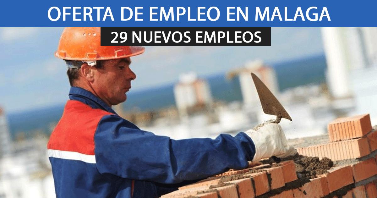 Publicadas 29 ofertas de empleo en Málaga como albañiles y personal de construcción.