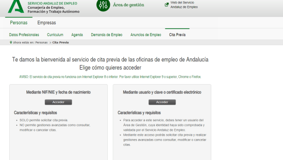 Cita previa para el paro Andalucía