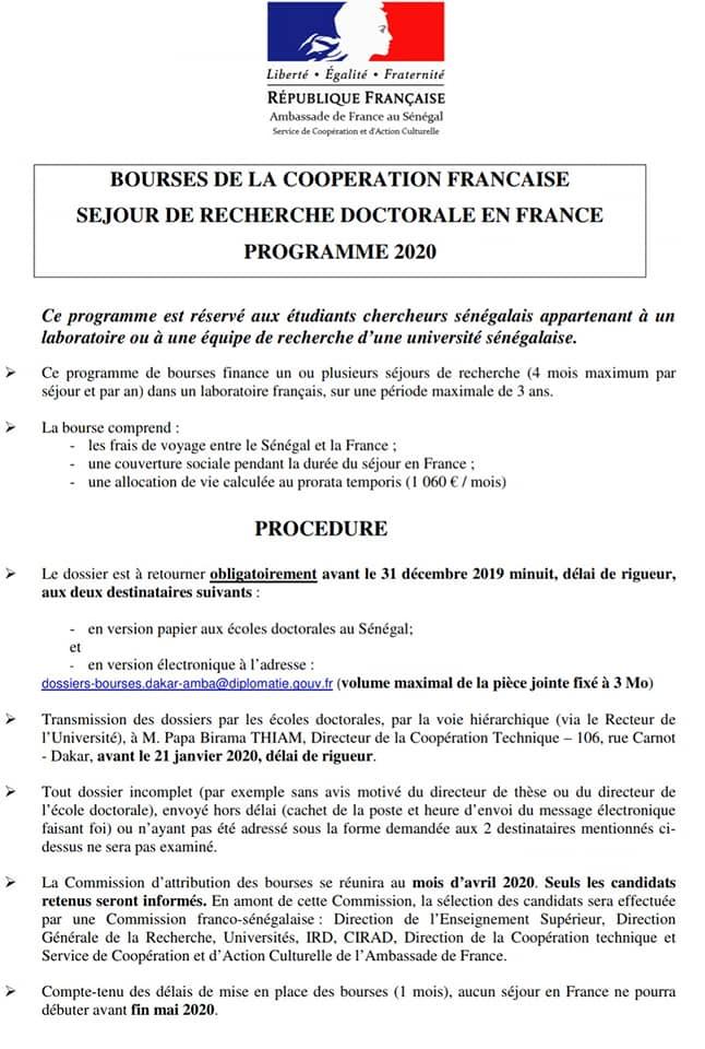 Lancement De La Campagne De Bourses Doctorales Et Postdoctorales 2020