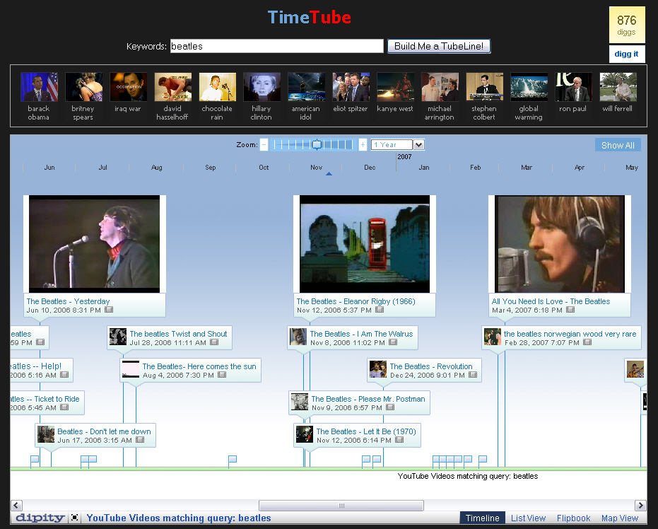 """TimeTube for \""""The Beatles\"""" - 1 year span"""