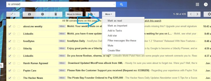 How to read all unread mails by just few clicks