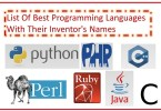 List Of Best Programming Languages With Their Inventor's Names