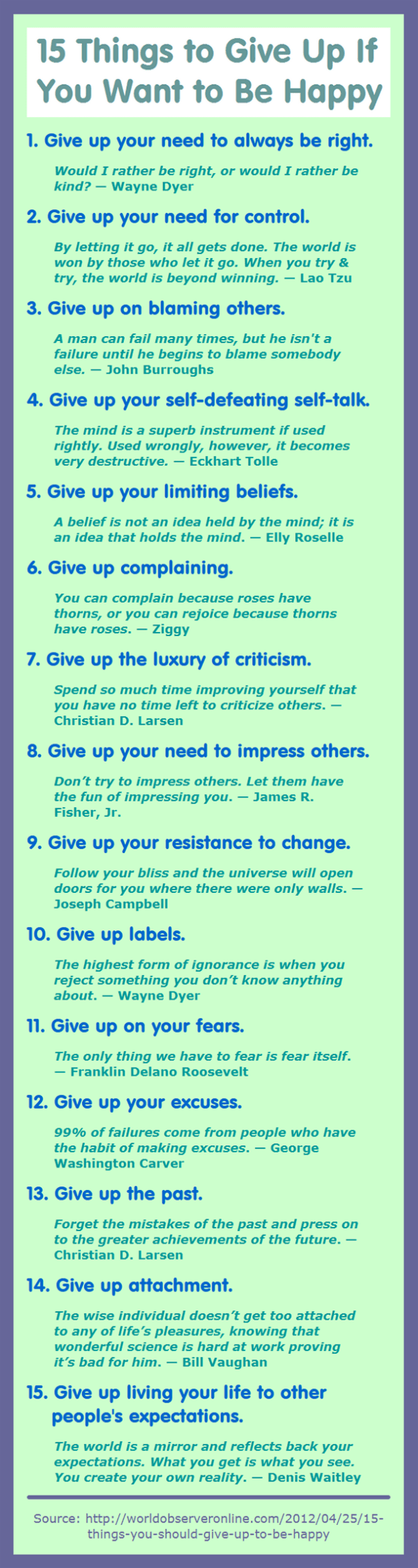 15 Things to Give Up If You Want to Be Happy #happiness #behappy
