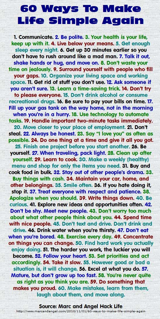 60 Ways to Make Life Simple