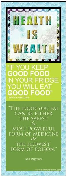 Food Bookmark - Health Is Wealth