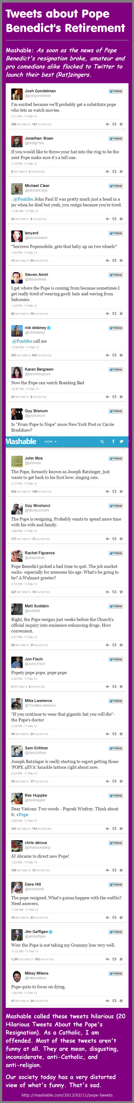 Tweets about Pope Benedict's Retirement