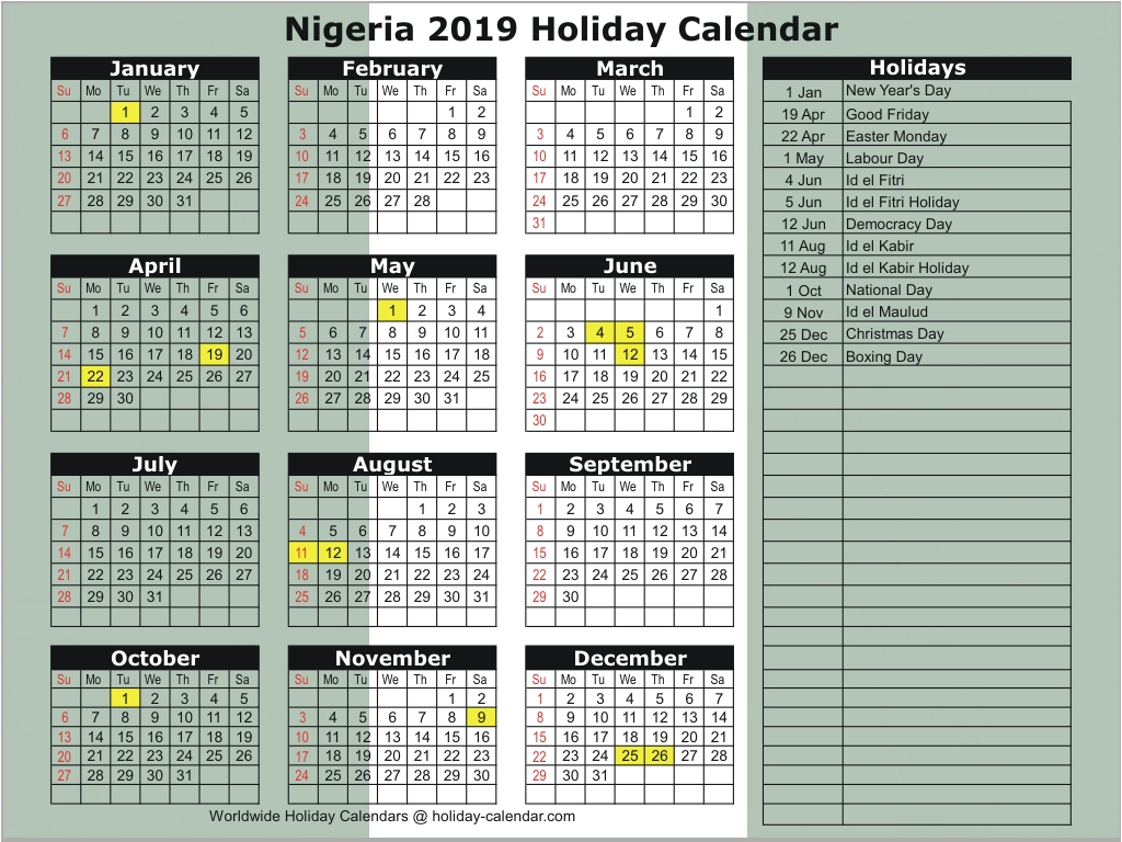 12 Notable Public Holidays in Nigeria 2019 and Significance