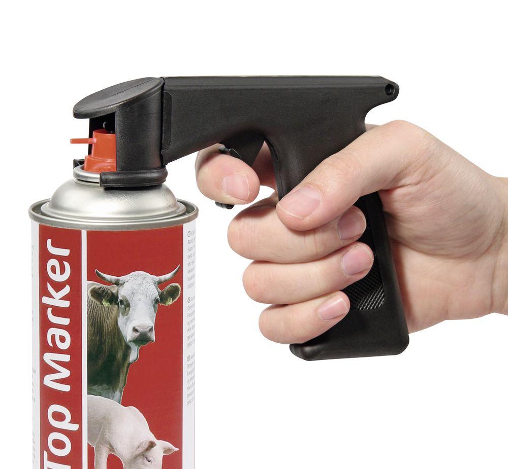 Pistolenaufsatz in Anwendung an Dose.