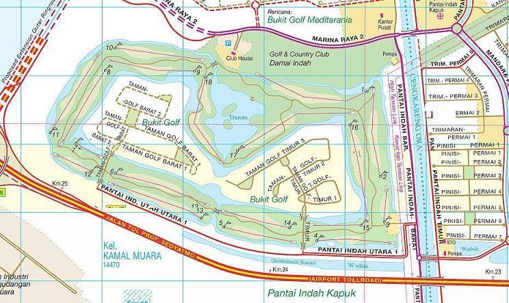 Perumahan Pantai Indah Kapuk di Hilir Jalan Tol Bandara Cengkareng Km 23 hingga Km 25