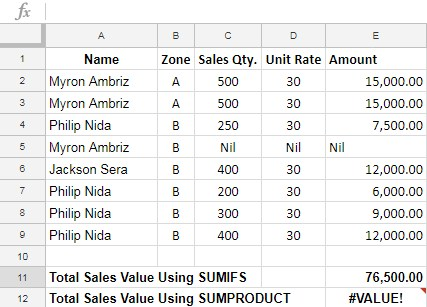 SUMPRODUCT error value not in SUMIFS