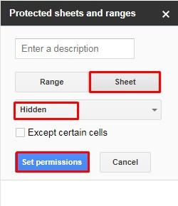 protected sheet range settings