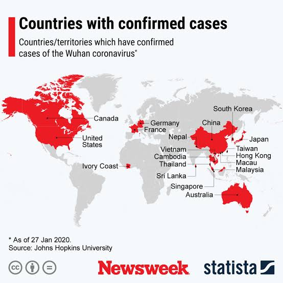 Countries with cases of Coronavirus