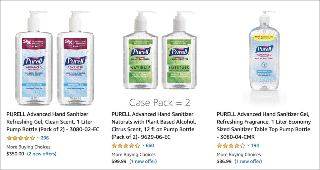 Amazon Sanitizer Pricing