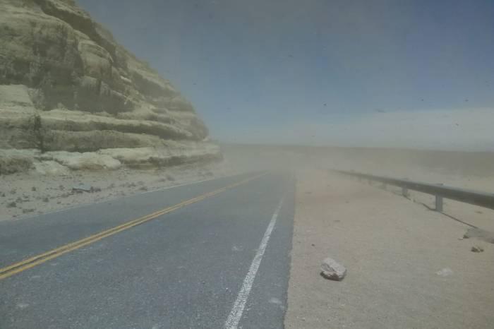 """Precaución al transitar por zona de """" Cuesta de Rinconada"""", piedras sueltas y poca visibilidad por fuertes vientos"""
