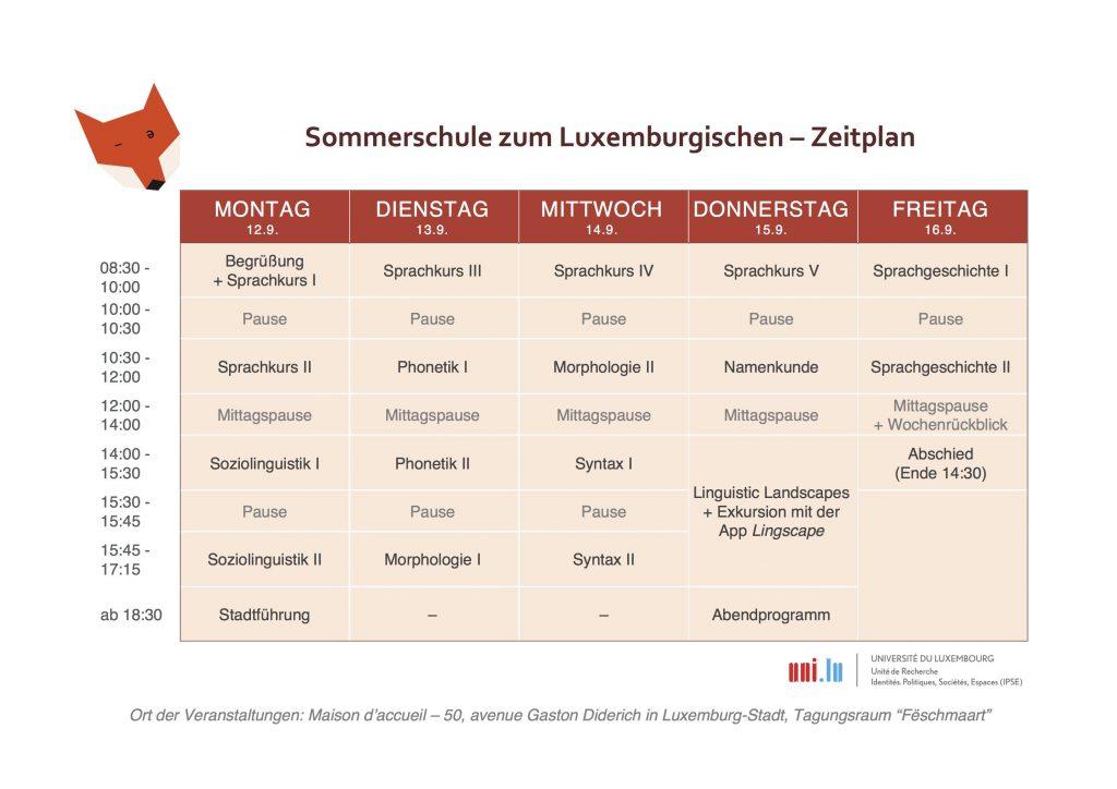 Sommerschule Zeitplan