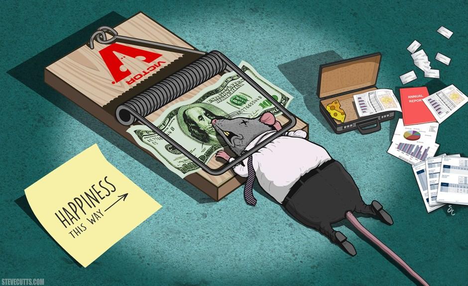 Rat trap by Steve Cutts