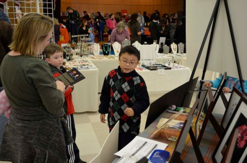 Nine years old David T. Lee selling his book at Floral Fun Fair 2012