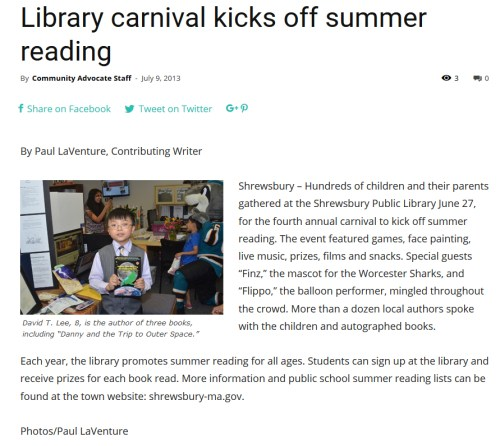 Library carnival kicks off summer reading - Community Advocate (2013)