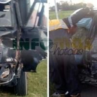San Genaro: fuerte impacto entre un camión y un auto  en el cruce de rutas 34 y 65