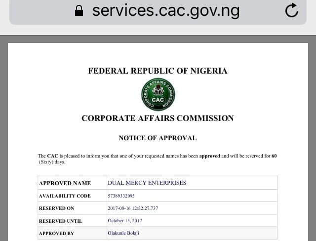CAC Verification Code to complete business registration