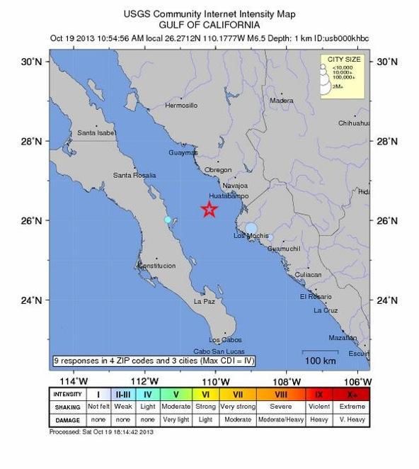 En la imagen se aprecia el epicentro del sismo.