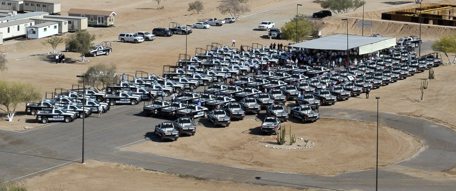 Lote de patrullas entregadas este día en Hermosillo.