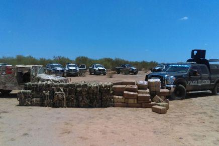 Aseguran SEDENA y PESP una tonelada de droga en Caborca