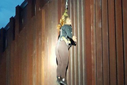 Encuentran a mujer colgada de la línea divisoria en Nogales