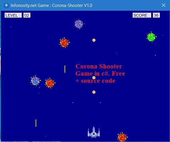 Corona shooter game in C # + source code.