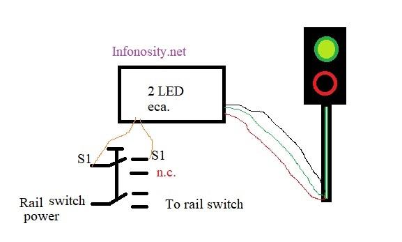 2 LED train traffic light and switch