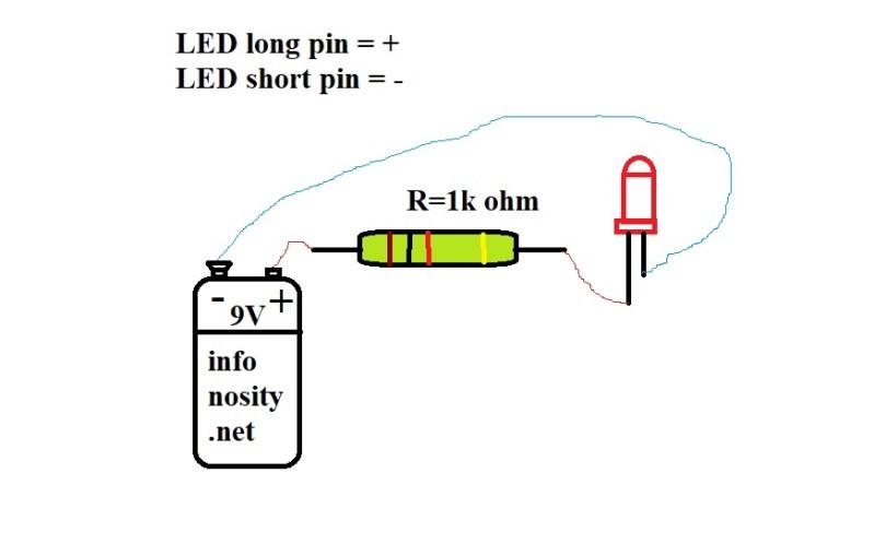 Schema aansluiten LED met voorschakelweerstand. Berekenen voorschakelweerstand LED. Copyright © Bruno Stroobandt infonosity.net