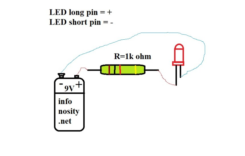 LED series resistor schematic. Calculate the series resistor for a LED. Copyright © Bruno Stroobandt infonosity.net