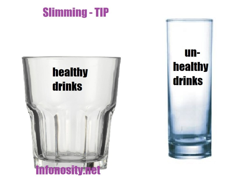 Slimming tip. Slimming without effort. Use narrow tall glasses for unhealthy drinks. And wide low glasses for healthy drinks. Copyright (c) htpps: //infonosity.net Bruno Stroobandt.