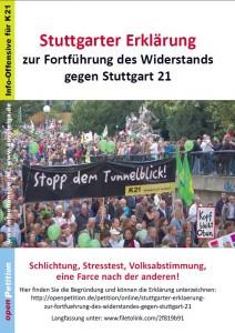 Stuttgarter Erklärung - zur Fortführung des Widerstands gegen Stuttgart 21 Schlichtung,