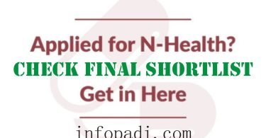 Npower Health (N-Health) Final Shortlist 2017/2018- Complete list checking guideline