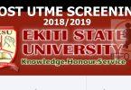 EKITI STATE UNIVERSITY (EKSU) POST UTME 2018/2019 Screening Exercise/Form- Application Details