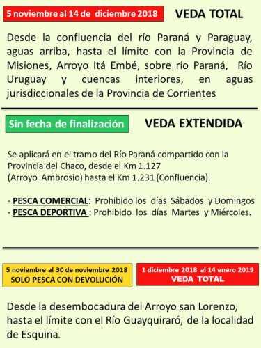 Disposiciones de veda de pesca para Corrientes