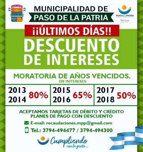 Municipalidad de Paso de la Patria informa sobre moratoria de impuestos