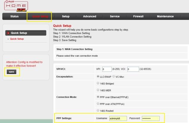 change admin login password PLDT username