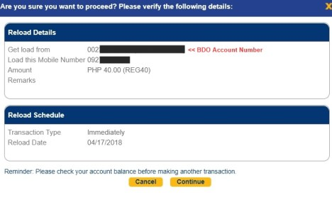 bdo prepaid mobile reload globe smart