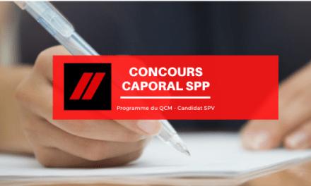 Concours caporal SPP (filière SPV) : le programme du QCM
